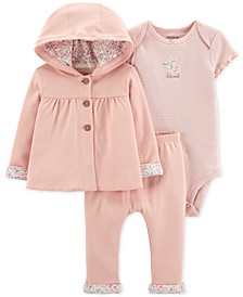 3-Pc. Hooded Cotton Cardigan, Bodysuit & Pants Set