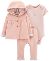 2501960a8d938 Carter's 3-Pc. Hooded Cotton Cardigan, Bodysuit & Pants Set