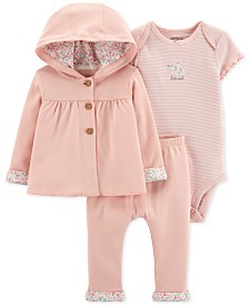 Carter's 3-Pc. Hooded Cotton Cardigan, Bodysuit & Pants Set