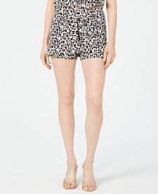 Kendall + Kylie Leopard-Print Faux-Wrap Skort