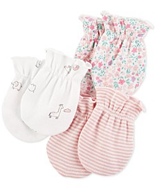 Baby Girls 3-Pk. Printed Cotton Mittens