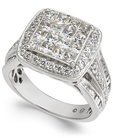 Diamond Princess Cluster Halo Engagement Ring (2 ct. t.w.) in 14k White Gold