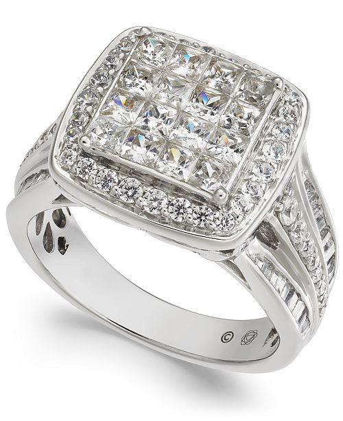 Macy's Diamond Princess Cluster Halo Engagement Ring (2 ct. t.w.) in 14k White Gold