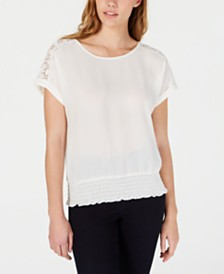 BCX Juniors' Crochet-Trim Top