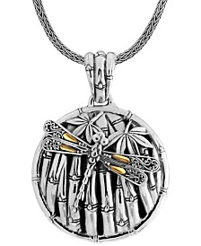 Sweet Dragonfly Bamboo Sterling Silver Pendant Necklace Embellished by 18K Gold Accents on 4 Strips of Dragonfly's Wings