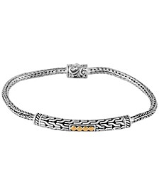 Bali Heritage Classic Sterling Silver Bracelet with Dragon Bone Chain Embellished by 18K Gold