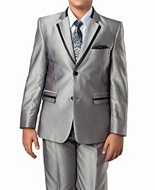 Solid Texture With Black Satin Trim 2 Button Front Closure Boys Suit, 4 Piece