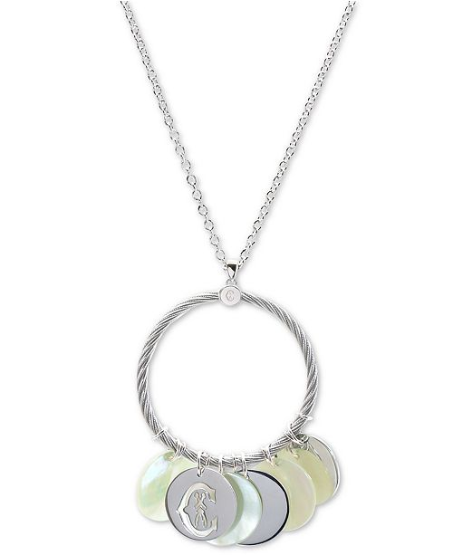 """CHARRIOL Havana Mother-of-Pearl 23-1/2"""" Pendant Necklace in Stainless Steel and Sterling Silver"""