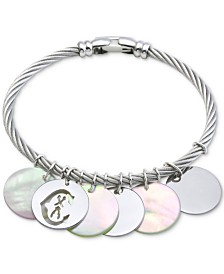 CHARRIOL Havana Mother-of-Pearl Bangle Bracelet in Stainless Steel and Sterling Silver