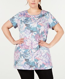 Ideology Plus Size Printed Keyhole-Back Tunic, Created for Macy's