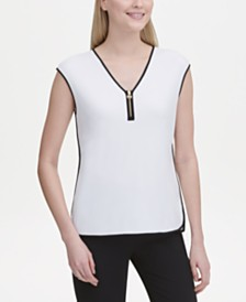 Calvin Klein Sleeveless Zipper-Trim Top