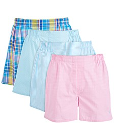 Men's 4-Pk. Woven Cotton Boxers