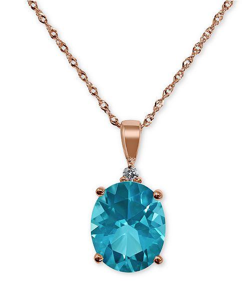 "Macy's Paraiba Mystic Topaz (4-1/2 ct. t.w.) & Diamond Accent 18"" Pendant Necklace in 14k Rose Gold"