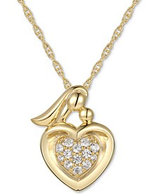 "White Sapphire (1/10 ct. t.w.) Mom 18"" Pendant Necklace in 14k Gold"