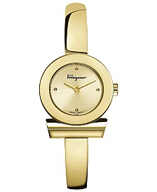 Ferragamo Women's Swiss Gancino Gold-Tone Stainless Steel Bracelet Watch 22mm