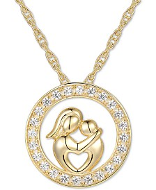"White Sapphire Mother & Child 18"" Pendant Necklace (1/5 ct. t.w.) in 14k Gold"