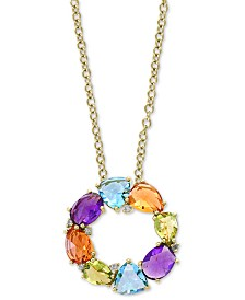 "EFFY® Multi-Gemstone (7-1/3 ct. t.w.) & Diamond (1/10 ct. t.w.) 18"" Pendant Necklace in 14k Gold"