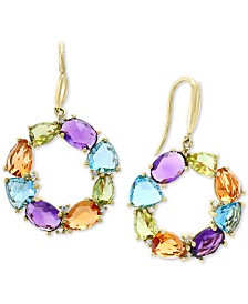 EFFY® Multi-Gemstone (10 ct. t.w.) & Diamond (1/10 ct. t.w.) Circle Drop Earrings (10 ct. t.w.) in 14k Gold