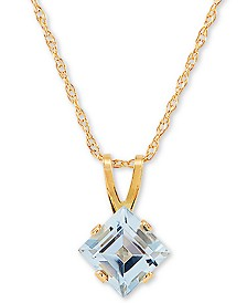 "Swiss Blue Topaz 18"" Pendant Necklace (1 ct. t.w.) in 14k Gold"