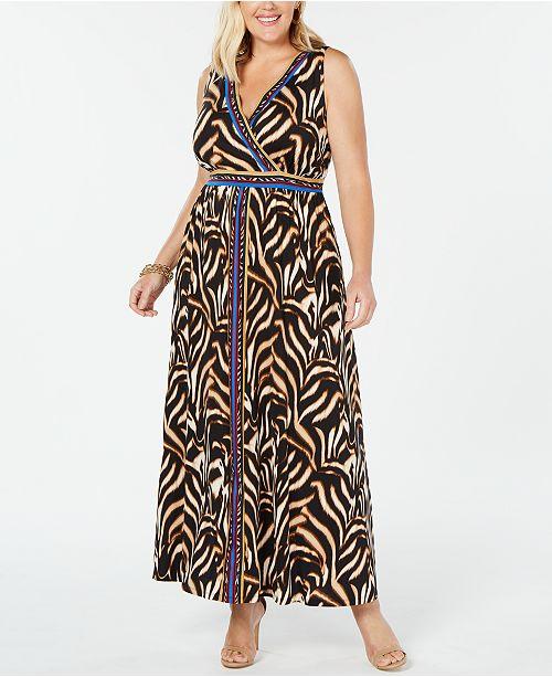 I.N.C. Plus Size Surplice Tiger-Print Maxi Dress, Created for ...