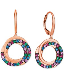 Le Vian® Multi-Gemstone (1-1/10 ct. t.w.) Drop Earrings in 14k Rose Gold