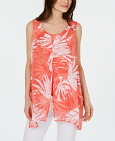 Alfani Printed Sleeveless Overlay Top, Created for Macy's