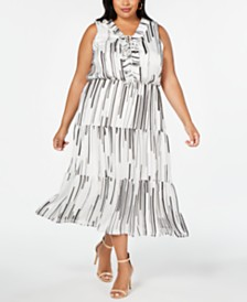 Taylor Plus Size Ruffle-Neck Maxi Dress