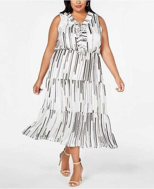Taylor Plus Size Ruffle-Neck Maxi Dress