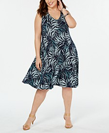 Plus Size Printed Sleeveless Swing Dress, Created for Macy's