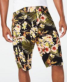 GUESS Men's Summer Paradise Stretch Tropical-Print Cargo Shorts
