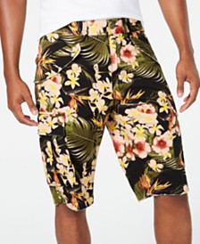 GUESS Men's Summer Paradise Stretch Tropical-Print Cargo Shorts