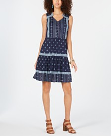 Style & Co Mixed-Print Tiered Peasant Dress, Created for Macy's