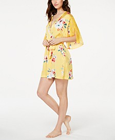 INC Floral-Print Lace-Trim Robe, Created for Macy's