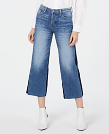 Flying Monkey Cropped Wide-Leg Tuxedo Jeans