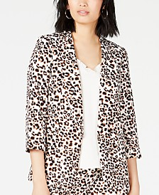 Bar III Leopard-Print Jacket, Created for Macy's
