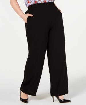 Bar III Plus Pull-On Wide-Leg Pants