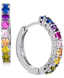 Giani Bernini Cubic Zirconia Rainbow Hoop Earrings in Sterling Silver, Created for Macy's