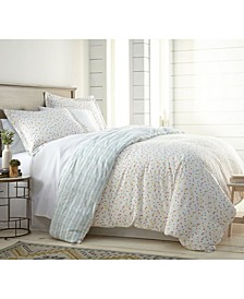 Blue Confetti Reversible Printed Duvet Cover and Sham Set, Full/Queen