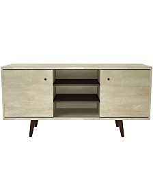"2 Cabinet Mid-Century 53"" Wood TV Stand with Shelves"