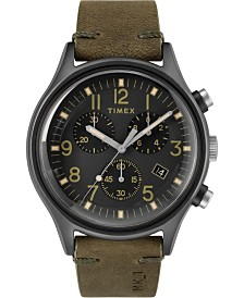 Timex Mk1 Steel Chronograph 42mm Leather Strap Watch
