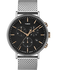 Timex Fairfield Chronograph 41mm Rose Gold Accents Black Dial Silver Mesh Band Watch