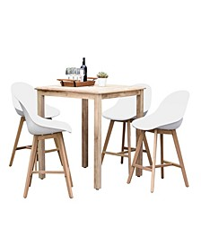 5 Piece Patio Bar Set Square