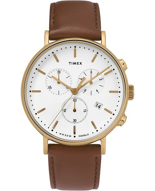Timex Boutique Timex Fairfield Chronograph 41mm Leather Strap Watch