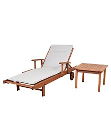 2 Piece Patio Chaise Lounger Set with Cushion