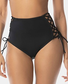SUNDAZED Stella Solid Strappy High-Waist Hipster Bikini Bottoms, Created for Macy's
