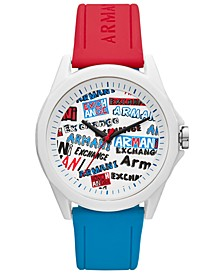 Men's Drexler Red & Blue Silicone Strap Watch 44mm
