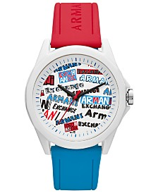 A|X Armani Exchange Men's Drexler Red & Blue Silicone Strap Watch 44mm