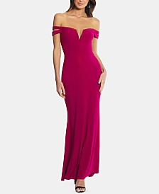 XSCAPE Cold-Shoulder Petite Size Gown