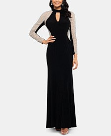 Embellished Mock-Neck Illusion Gown