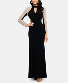 XSCAPE Embellished Petite Mock-Neck Illusion Gown